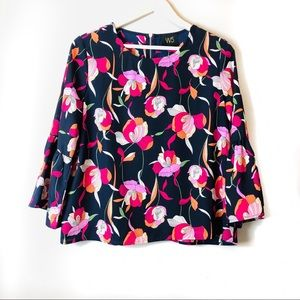 Anthropologie W5 Floral Bell Sleeve Blouse